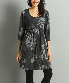 Look what I found on #zulily! Charcoal & Gray Paisley Empire-Waist Dress by Reborn Collection #zulilyfinds