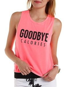 Goodbye Calories Graphic Muscle Tee: Charlotte Russe #graphictee #active