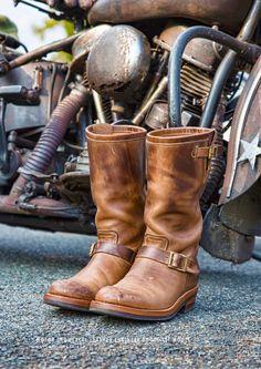 Bota Engineer Boot Steer Hide - Leathers & Thins Motors Japão