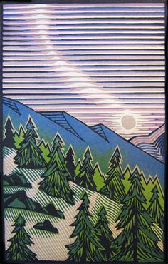 Contemporary Printmaking - Moonrise (Original Art from Joseph Vorgity)