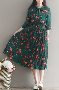Snow Flower - 3/4-Sleeve Tie-Front Floral Pleated Midi Dress #floral #mididress #flashdeal