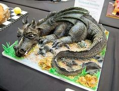 Such a great sugar craft birthday cake! Shared from The Pagan Poppet Crazy Cakes, Fancy Cakes, Cute Cakes, Pink Cakes, Dragon Birthday Cakes, Dragon Cakes, Cake Cookies, Cupcake Cakes, Bolo Halloween
