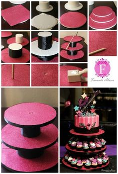 DIY cupcake stand Franklin Franklin Myers Myers Cassels It doesn't have the instructions but we could probably figure it out. Cake And Cupcake Stand, Cupcake Cakes, Cupcake Tier, Porta Cup Cakes, Bolo Diy, Diy Cake, Gorgeous Cakes, Diy Party, Party Ideas