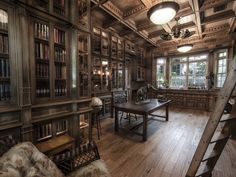 """Jim Cardon's Stunning Custom Built Library, Inspired by """"The Illusionist"""" - Library Study Room, Future Library, Dream Library, Attic Library, Study Rooms, Study Areas, Steampunk Architecture, Home Libraries, Custom Built Homes"""