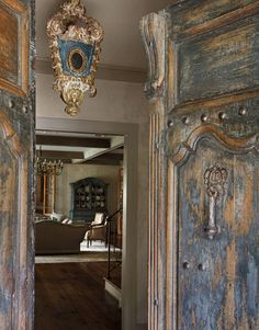 interior design, entry doors, patina, decorating blogs, front door, rustic doors, blue houses, french blue, antiqu