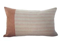"CAN $49 . Made in Canada. Invisible zipper & serged edges. Available in 16""x26"" - This pillow cover has a neutral dot pattern with a muted coral background accented with our Aurora rust orange pinstripe on an soft grey background. Front: 100% cotton from Japan & 100% White Linen from Lithuania. Back: 100% pure white Linen. Thick, homespun, enzyme softened & pre-washed. Coral Background, Rust Orange, Lithuania, Pure White, 100 Pure, Aurora, Pillow Covers, Neutral, Canada"