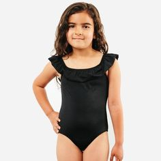 f5ea5b6c541c Shop the Luna Ruffle Girls One Piece Swimsuit for toddlers and kids in  Black by CURRENT