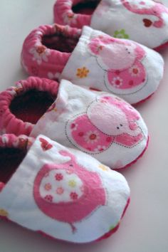 Pink Elephant Baby Booties by FoxFinery on Etsy