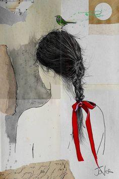 "Saatchi Art Artist: Loui Jover; Ink 2014 Drawing ""the scarlet ribbon"""