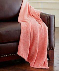 Colonial Home Textiles Orange Heather Coral Fleece Throw
