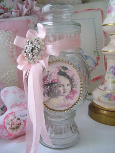 Sweet Child Embellished Apothecary Jar by sweetnshabbyroses, via Flickr <3 Shabby Chic Cottage Pink