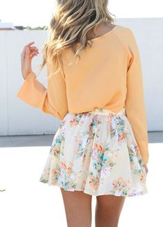 • floral skirt + peachy shirt •
