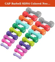 CAP Barbell SDN4 Colored Neoprene Hex Dumbbell Set - 1 to 10 lbs (10 pairs) - For Aerobic Workouts and Total Body Toning. Economy SDN4 Neoprene Covered Hexagonal Dumbbells by CAP Barbell - Buying your neoprene coated dumbbells by the set is definitely cheaper than buying by the single pair and CAP Barbell has configured each set into the most popular weights based on what customers ask for most. Each pair of dumbbells is completely encapsulated in brightly colored neoprene for easy...