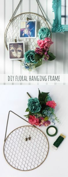 Best DIY Ideas With Chicken Wire - Pretty DIY Floral Hanging Frame - Rustic Farmhouse Decor Tutorials With Chickenwire and Easy Vintage Shabby Chic Home Decor for Kitchen, Living Room and Bathroom - Creative Country Crafts, Furniture, Patio Decor and Rust Casas Shabby Chic, Vintage Shabby Chic, Shabby Chic Decor, Rustic Decor, Hanging Frames, Hanging Photos, Diy Wanddekorationen, Sell Diy, Chicken Wire Crafts