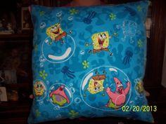 Handmade  Spongebob and Patrick  throw pillow by MawmaRosesCrafts, $15.00