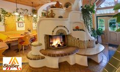 Kitchen & dining, cob oven central to the room. Cob House Interior, Earth Bag Homes, Earthship Home, Mud House, Natural Homes, Dome House, Natural Building, Creative Home, My Dream Home