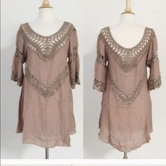 lowered‼️Boho dress, crocheted.  Beautiful Soo cute on❣Acrylic and poly but it looks like a fine raw silk . Beautiful taupe color, very light and stylish April Spirit Dresses Mini