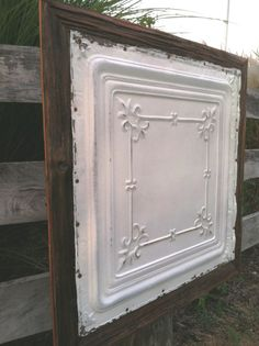 Salvaged Antique Tin Ceiling Tile w/ Reclaimed Antique Barn Wood Frame.