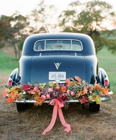 Just Married Car Decorated With Flowers