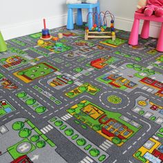Colourful Fun Roads Children's Rug