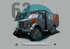 """Soviet truck GAZ-63 """"SNOW RAT"""", Andrey Tkachenko on ArtStation at https://www.artstation.com/artwork/soviet-truck-gaz-63-snow-rat"""
