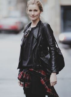 all black everything - the plaid button up.