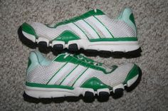 Adidas running shoes white & green eight 8 Mens Choice 40 European men 3 stripe #adidas #RunningCrossTraining