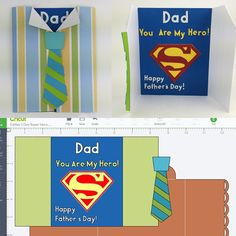 Dad Superhero Card on the blog for Fathers Day. Includes a link to the shared Cricut Design Space file and the SVG!