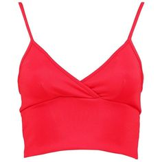 Boohoo Catherine Scuba Plunge Cross Bralet ($14) ❤ liked on Polyvore featuring tops, shirts, off the shoulder crop top, off shoulder crop top, body suit, red off the shoulder top and embellished crop top