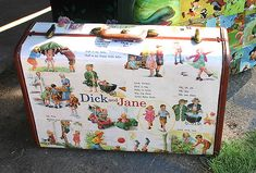 This is an old flee market find suitcase that I have covered with pages from the new Dick and Jane books that are out, then sealed several times with polyurethane. Lots of fun and will make someone happy. Decoupage Suitcase, Suitcase Decor, Decoupage Vintage, Vintage Crafts, Painted Suitcase, Cute Suitcases, Vintage Suitcases, Vintage Luggage, Upcycled Crafts