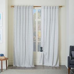 $120 living room Cotton Canvas Chambray Print Curtain - Platinum #westelm