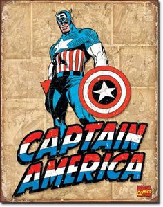 Captain America Panels - Vintage Tin Sign