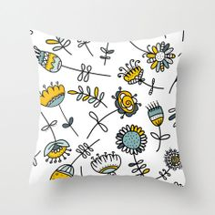 Yellow  and blue summer Flowers pattern pillow 16x16 Decorative throw pillows pillow cover pillow floral nature texture spring pattern