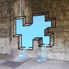 "streetartsyblog:  ""L.A. Leaker"" by Aakash Nihalani, Los Angeles. Duct tape."