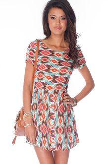 Tribal Dye-mond Dress in Tomato