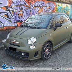 Car wrapping with Olive Green Matt #APAfilms #selfadhesive #carwrapping