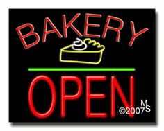 """Bakery Open Neon Sign - Block Text - 24""""x31""""-ANS1500-1798-1g  31"""" Wide x 24"""" Tall x 3"""" Deep  Sign is mounted on an unbreakable black or clear Lexan backing  Top and bottom protective sides  110 volt U.L. listed transformer fits into a standard outlet  Hanging hardware & chain included  6' Power cord with standard transformer  Includes 2nd transformer for independent OPEN section control  For indoor use only  1 Year Warranty on electrical components."""