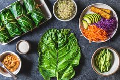 Collard Green Wraps - Spring greens to us of course! Vegan Recipes Plant Based, Raw Vegan Recipes, Vegan Foods, Vegetarian Recipes, Healthy Recipes, Healthy Snacks, Collard Green Wraps, Collard Greens, Cabbage Wraps
