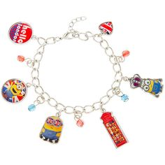 Despicable Me Minions Hello London Charm Bracelet ($35) ❤ liked on Polyvore featuring jewelry, bracelets, metal chain bracelet, metal bracelet, bracelet jewelry, charm bracelet and metal jewelry