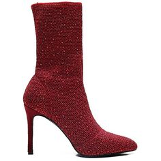 Wine Red 36 Rhinestone Detail Net Stiletto Boots ($25) ❤ liked on Polyvore featuring shoes, boots, gamiss, stiletto high heel boots, red stiletto boots, stiletto boots, red stilettos and red boots