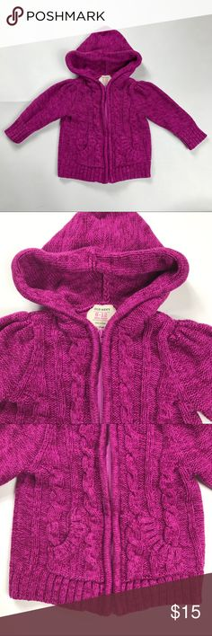 Old Navy 6-12 Months Cableknit Zip Up Sweater Girls Old Navy 6-12 Months Cableknit Zip Up Hooded Pink Sweater  Excellent condition, from smoke free home. Old Navy Shirts & Tops Sweaters