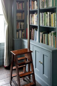 Library corner in duck egg blue #naturalcurtaincompany