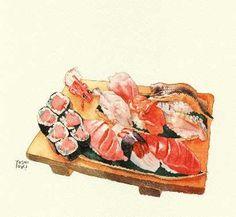sushi Japanese Food Art, Watercolor Illustration, Watercolour, Watercolor Food, Sushi Art, Food Painting, Food Icons, Tea Art, Food Journal