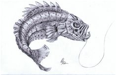 Drawings of Largemouth Bass Tattoo Designs