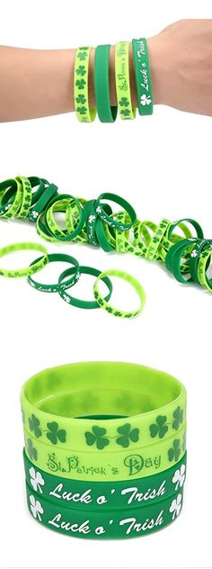 36 St. Patrick's Day Shamrock Rubber Wristbands Bracelets | St Patricks Day Costume Ideas | St Patricks Day Party Ideas for Kids