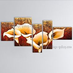 Huge Hand Painted Abstract Floral Painting On Canvas Contemporary Wall Art ops1045. Elegant designed Lily Flower Paintings, Genuine High Quality extra large canvas art with Cala Lily Flower, flower oil paintings, modern art paintings, art pictures, modern abstract paintings, bathroom wall art, huge art canvas, fast shipping. Price $156. Find more paintings from Tian Yi Art Studio by visit http://stores.ebay.com/Large-Contemporary-Wall-Art