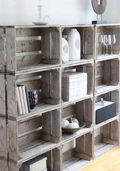 old wooden crate deco make shelf with old wine crates new apple crates old crates idee deco library cheap DIY storage books recycled buy furniture design old style Scandinavian design by goldiemejias Crate Storage, Diy Storage, Record Storage, Wood Storage, Storage Ideas, Storage Boxes, Build Your Own Shelves, Crate Bookshelf, Bookshelf Ideas
