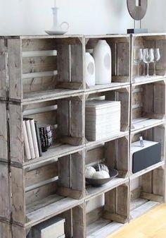 déco vintage caisses bois etagere