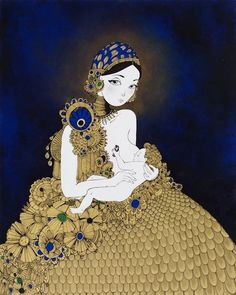 Madonna and Child by David Foote Black India Ink and Hyper-Metallic Acrylic Paint on Canvas 60x48 inches