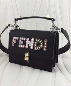 6dcc0b297d Replica Fendi Kan I Calf Logo Shoulder Bag Black  6943 2 Designer Bags
